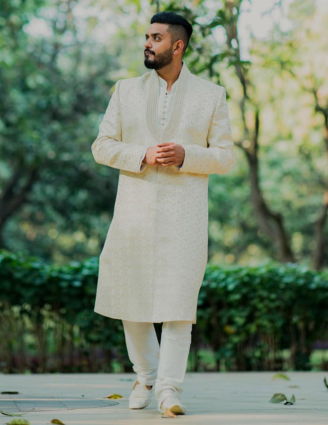 Manav Ethnic Happy Customer wearing Royal Cream Sherwani