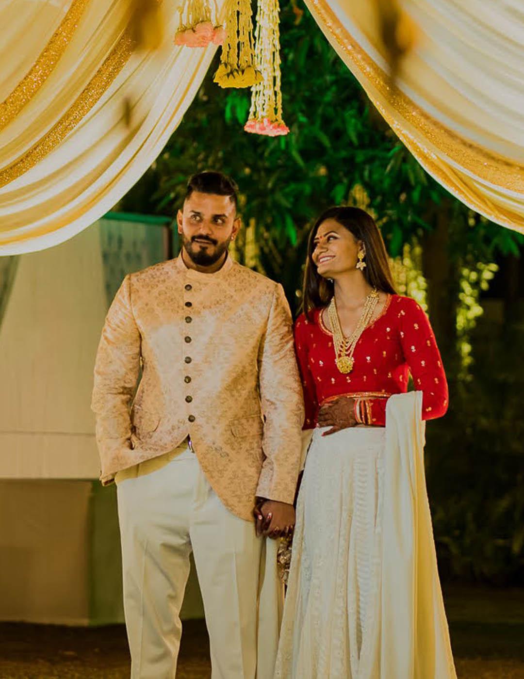 Manav Ethnic Happy Customer wearing Golden Indo-Western