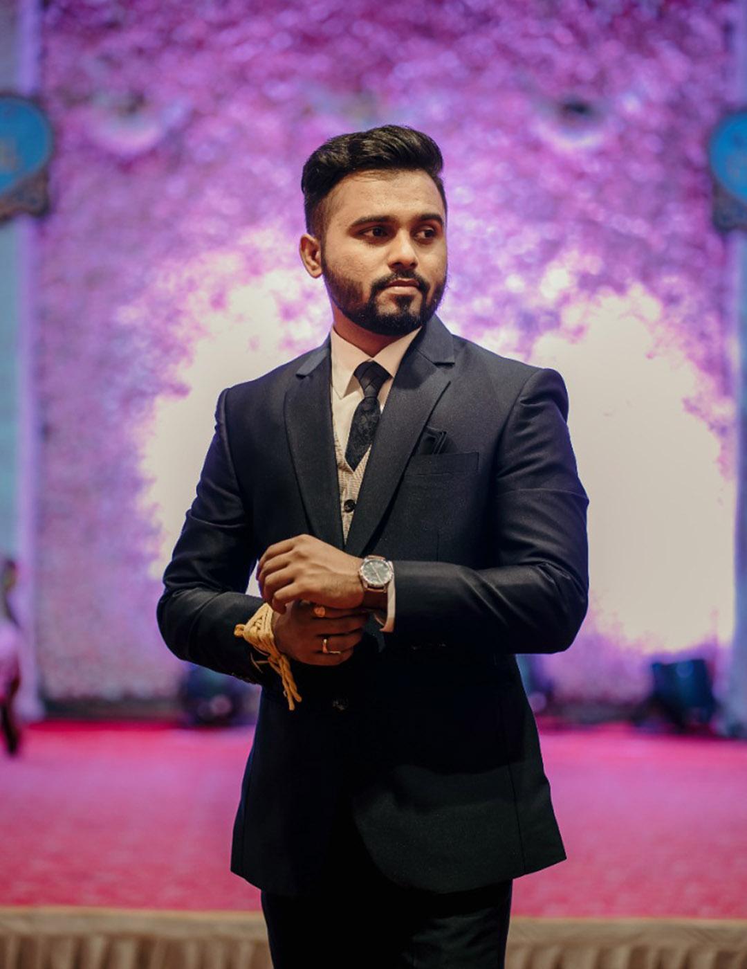Manav Ethnic Happy Customer wearing Suit