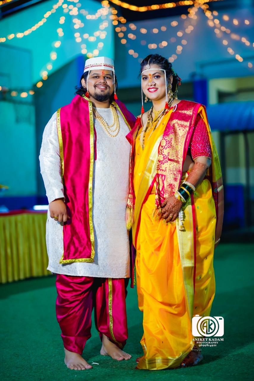 Manav Ethnic Happy Customer wearing a Traditional Maharashtrian Wedding Outfit